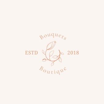 Bukiety boutique wektor znak, symbol lub szablon logo.