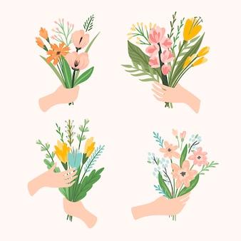 Bukiety ilustracji kwiatów w rękach