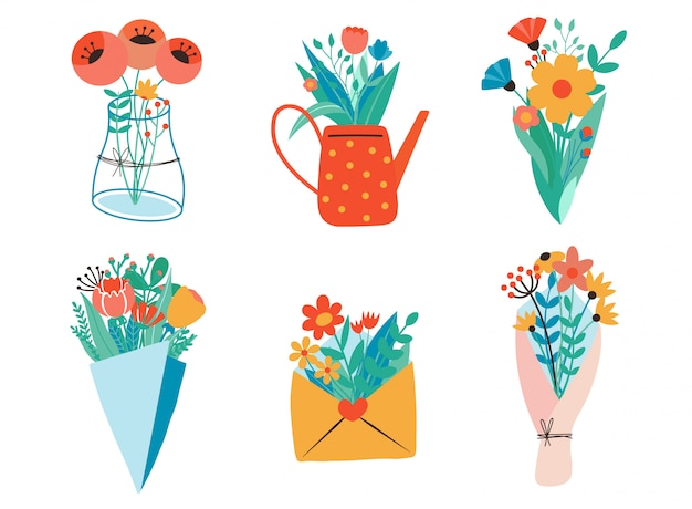Bukiety kwiatów, papier pakowy, koperty, pudełka, wstążki, list i konewka. płaska konstrukcja. styl cięcia papieru. ręcznie rysowane modny zestaw. pastelowe kolory. wszystkie elementy są odizolowane