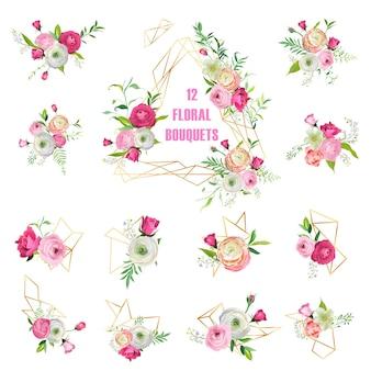 Bukiety kwiatów zestaw do dekoracji świątecznych. różowe kwiaty wieńce z elementami geometrycznymi na zaproszenia ślubne, tapety, wzór, kartki z życzeniami. ilustracja wektorowa