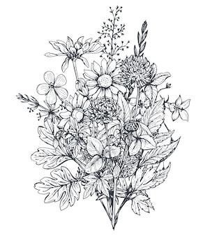 Bukiety kwiatowe z czarno-białymi ręcznie rysowanymi ziołami i polnymi kwiatami w stylu szkicu.