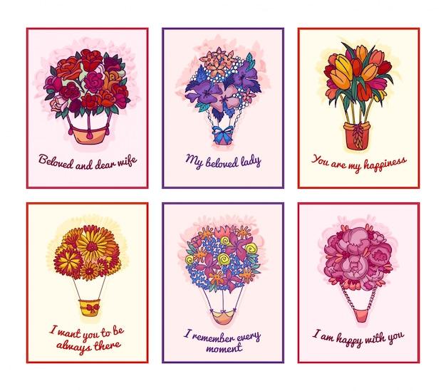 Bukiety kwitnące zestaw ilustracji. kartki z życzeniami kwiaty na urodziny, ślub, wakacje, zaproszenia. kwiatowy plakat, etykieta, tag, szablon i.