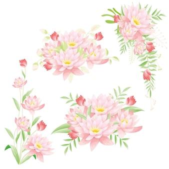 Bukiety lilii wodnej i liści