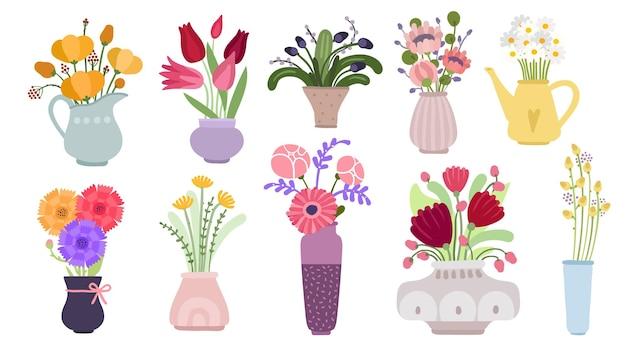 Bukiety. pęczek kwiatów ogrodowych, kwitnące letnie zioła botaniczne. rośliny zielne w doniczkach, dzbanach i butelkach. płaski wektor kwiatowy zestaw. ilustracja botaniczny bukiet kwiatów, wiosna kwiatów