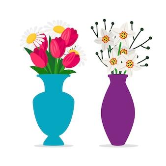 Bukiety wiosenne kwiaty w wazonach na białym tle