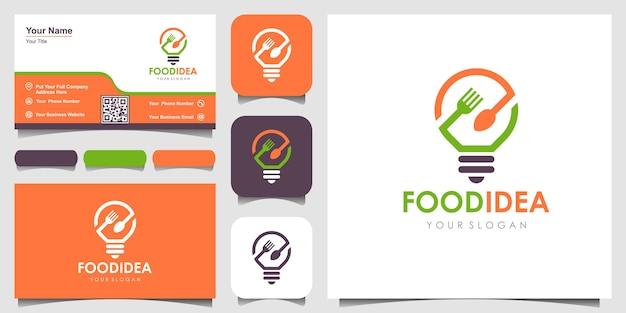 Bulb and fork creative breakfast restaurant logo i inspiracja dla projektu wizytówki