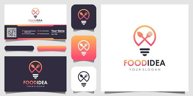 Bulb & fork creative breakfast restaurant logo i inspiracja w projektowaniu wizytówek