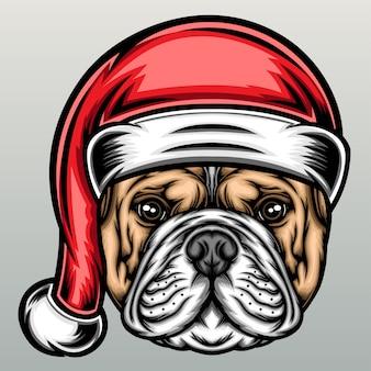 Buldog amerykański w świątecznej czapce.