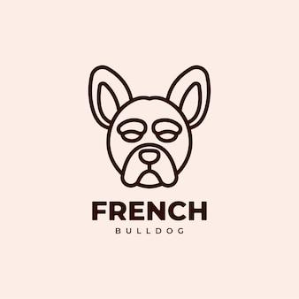 Buldog Francuski Geometryczny Monoline Logo Design Premium Wektorów