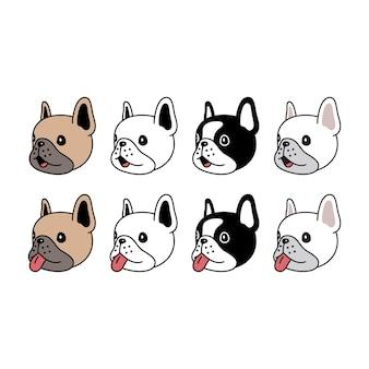 Buldog francuski pies głowa twarz postać z kreskówki zwierzę doodle szczeniak