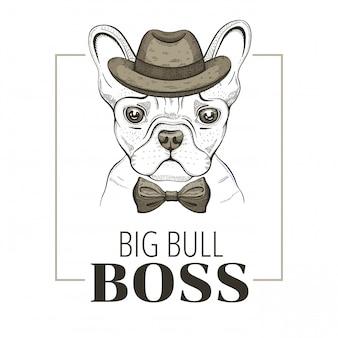 Buldog francuski pies szefa. projekt hipster. fajne wektor zwierzęce, doodle ręcznie rysowane styl.