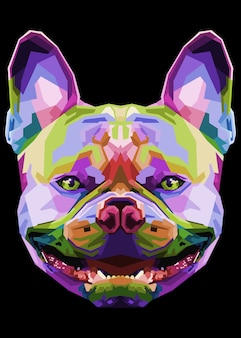 Buldog francuski w geometrycznym stylu pop-art