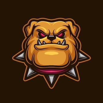 Buldog głowa kreskówka logo szablon ilustracja. gry z logo e-sportu
