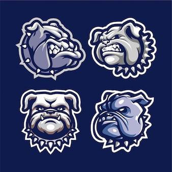 Buldog głowy maskotka na logo esport i sport na białym tle