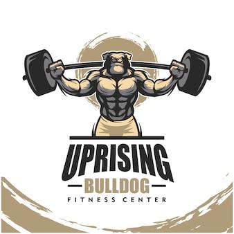Buldog k9 z mocnym ciałem, logo klubu fitness lub siłowni.