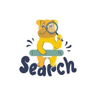 Buldog kreskówkowy i fraza literowa - szukaj. zabawny szczeniak detektywa trzyma szkło powiększające.