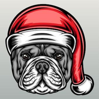 Buldog w świątecznej czapce.