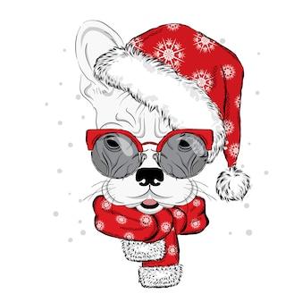Buldog w świątecznym kapeluszu i okularach przeciwsłonecznych. ilustracja do karty lub plakatu. nadruk na ubraniach. słodki szczeniaczek. pies rodowodowy. ferie. nowy rok i boże narodzenie.