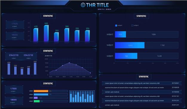 Bule szablon statystyk wykresów marketingowych