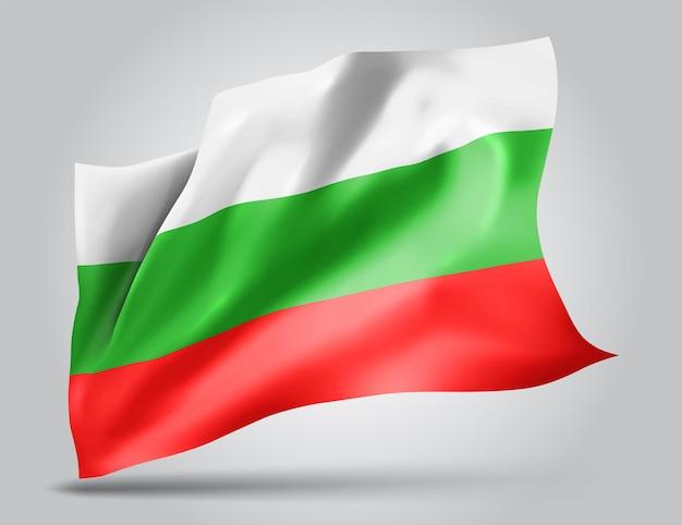 Bułgaria, wektor flaga z falami i zakrętami macha na wietrze na białym tle.