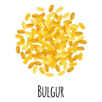 Bulgur do projektowania, etykietowania i pakowania szablonów na rynku rolników. ekologiczna super żywność z naturalnego białka energetycznego.