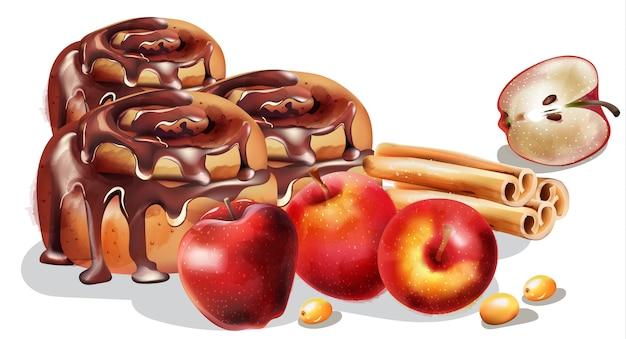 Bułki cynamonowe z polewą czekoladową i ozdoby zimowe