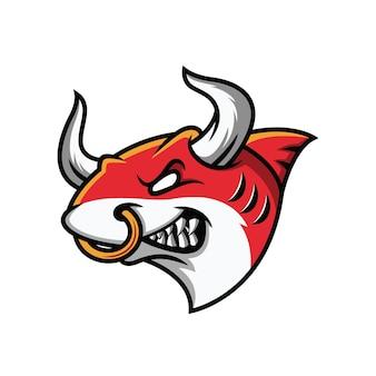 Bull gaming maskotka na białym tle
