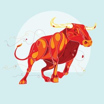 Bull hiszpański z abstrakcyjnym stylu