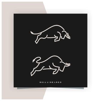 Bull line outline monoline logo design inspiration