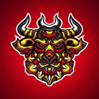 Bull potworów drapieżników gier maskotka logo wektor