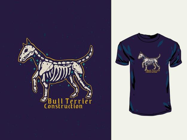 Bull terrier czaszka ręcznie rysowane ilustracji