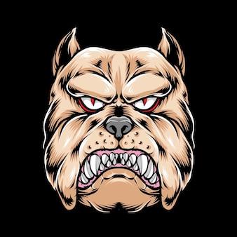 Bulldog głowa na czarnym tle