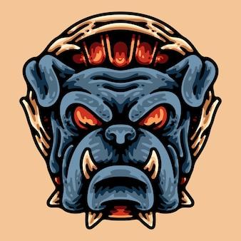 Bulldog głowa postać na białym tle na beż