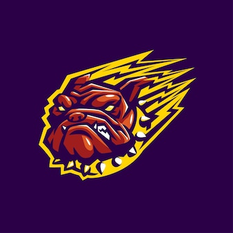 Bulldog head maskotka esport logo sport