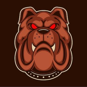 Bulldog ilustracja projekt na ciemnym tle