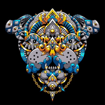 Bulldog mandala zentangle ilustracja i projekt koszulki premium