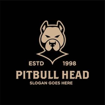 Bulldog pitbull głowa twarz wektor logo retro vintage