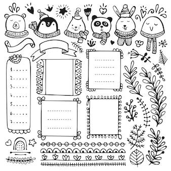 Bullet journal, boże narodzenie, nowy rok i zima ręcznie rysowane elementy do notatnika, pamiętnika i terminarza. doodle ramki i głowy zwierząt na białym tle