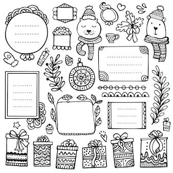 Bullet journal, boże narodzenie, nowy rok i zima ręcznie rysowane elementy do notatnika, pamiętnika i terminarza. doodle ramki na białym tle