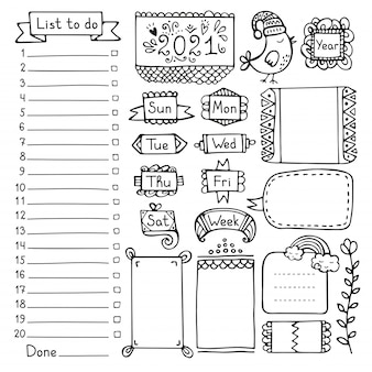 Bullet journal ręcznie rysowane elementy wektorowe dla notatnika, pamiętnika i terminarza.
