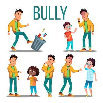 Bully child. angry bully kid. ofiara nastolatka. smutny chłopiec, dziewczynka