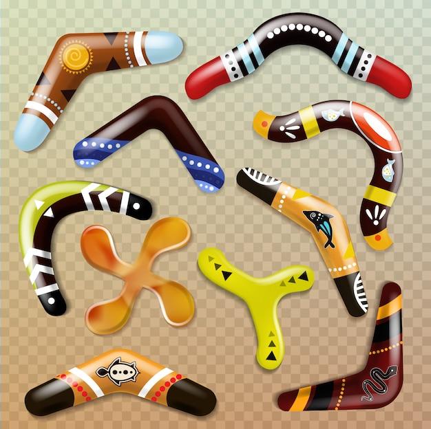 Bumerang aborygen rzucający broń i australijska pamiątkowa zabawka sportowa w australii zestaw tradycyjnych obiektów z efektem bumerangu aborygenów na przezroczystym tle