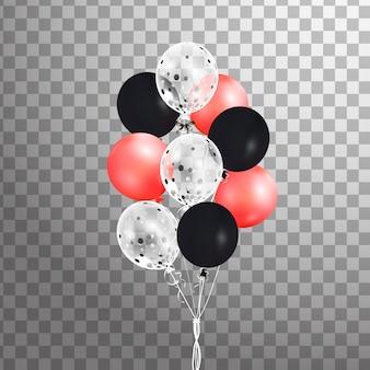 Bunche kolorowych balonów helowych na białym tle. dekoracje balonowe z matowego przyjęcia