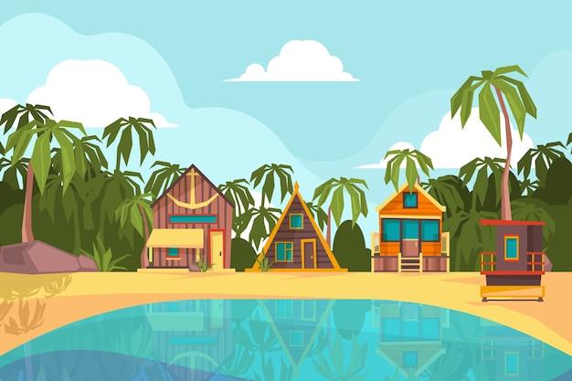 Bungalow nad morzem. letnia plaża z tropikalnym domkiem w tle ocean hotelu raj. morze lato bungalow, ilustracja tropikalny nadmorski raj