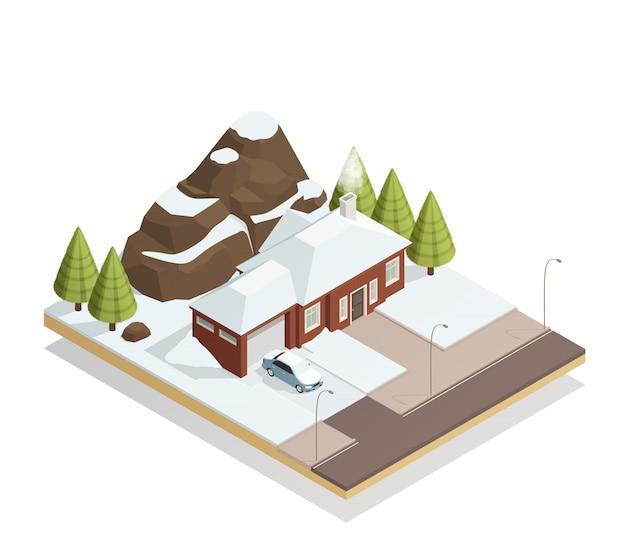 Bungalow zimowy krajobraz izometryczny