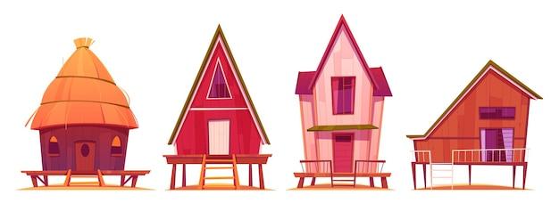 Bungalowy, domki letniskowe na plaży na stosach z tarasem, drewniane budynki prywatne, wille, hotel, domki, domy mieszkalne, apartamenty, lokale mieszkalne, ilustracja kreskówka wektor, zestaw ikon na białym tle