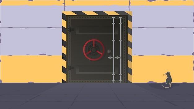 Bunkier w stylu płaskim. duże metalowe drzwi z bunkra. drzwi pancerne. wektor.