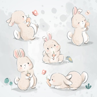 Bunny and carrot doodle set