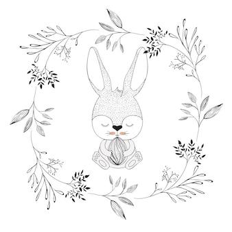Bunny z zamkniętymi oczami i trzymając easter egg
