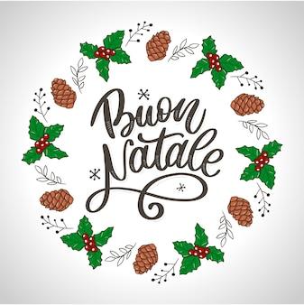 Buon natale. kartkę z życzeniami wesołych świąt